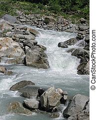 rivière, lait, glacier, ensoleillé, sien, manière, confection, torrentiel, vallée, jour