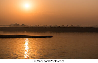 rivière, levers de soleil, irrawaddy, myanmar