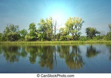 rivière, levers de soleil