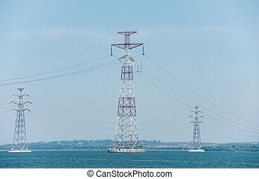 rivière, lignes, pylônes, puissance, a haute tension