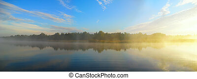 rivière, matin, peche, avant
