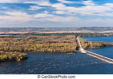 rivière, mississippi, au-dessus, alma, barrage