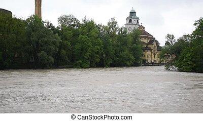 rivière, m?ller'sches, vue., munich, central, volksbad, eau...
