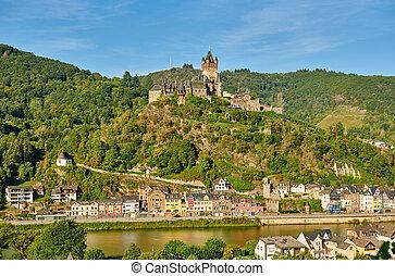 rivière, moselle, château, reichsburg, ville, cochem, allemagne
