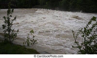 rivière, munich, central, eau, isar, élevé
