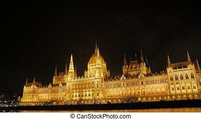 rivière, nuit, château, gothique
