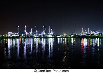 rivière, nuit, raffinerie, temps, vue, huile