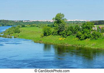 rivière, occidental, dvina, dans, belarus