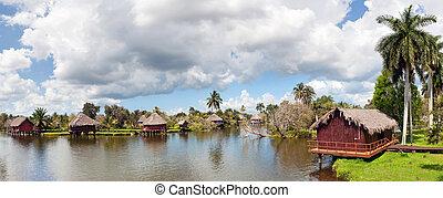 rivière, panorama, cubaine, village