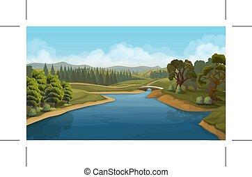 rivière, paysage, vecteur, fond, nature