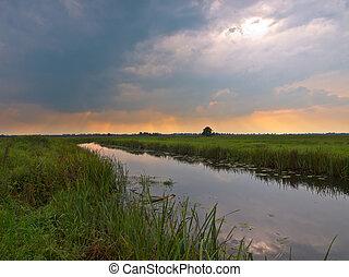rivière, plaine, hollandais