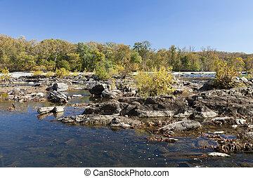 rivière potomac, dans, les, automne