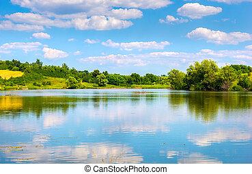 rivière, reflet, ciel