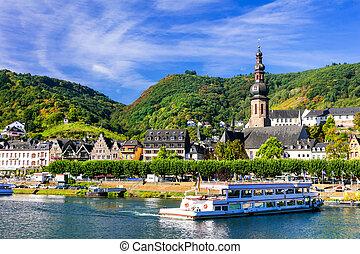 rivière, rhein, allemagne, cochem, cruises., town., romantique, beau
