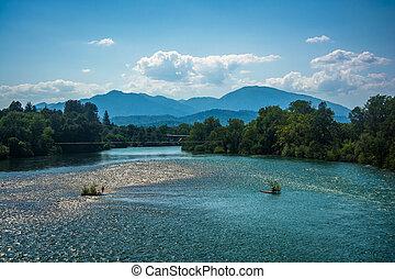 rivière, sacramento, california., redding, vu