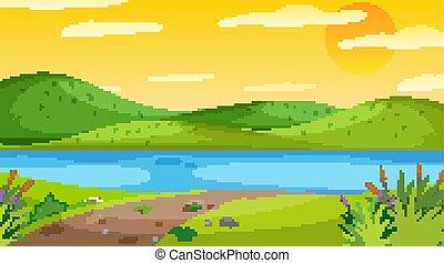 rivière, scène nature, coucher soleil