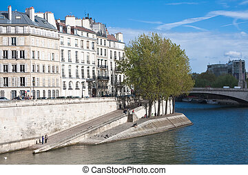 rivière seine, remblai, paris.