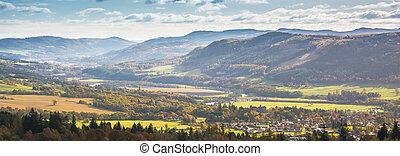 rivière, serpenter, pitlochry, tummel, collines, jour, ...