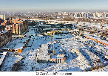 rivière, site construction, tyumen.russia, port