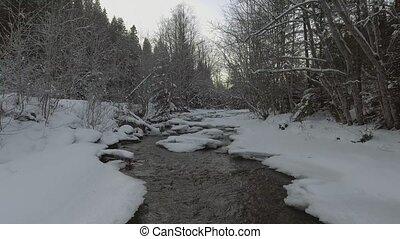 rivière, sur, aerial:, vol, hiver