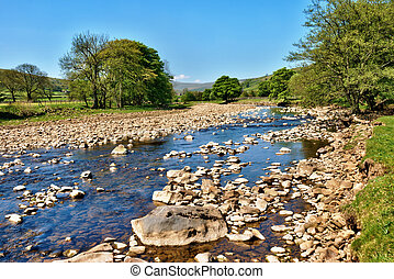 rivière, swale, yorkshire, angleterre