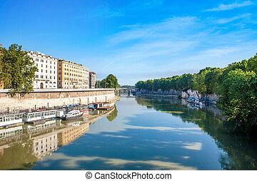 rivière tibre, dans, rome, italie