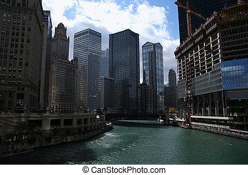 rivière, vue, chicago