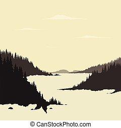 rivier, berg