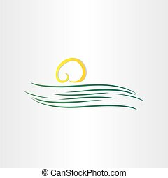 rivier, en, zon, symbool