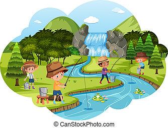 rivier, kinderen, visserij