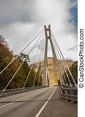 rivier, op, brug