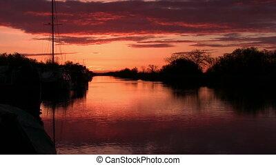 rivier, tranquil scène, dageraad