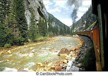 rivier, trein