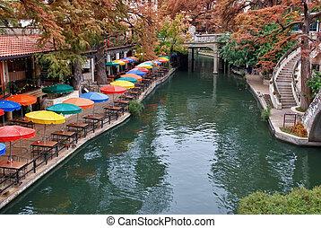 rivier, wandeling, san, texas, antonio