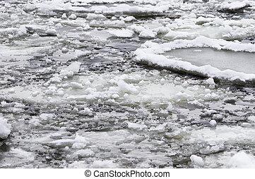 rivier, winter tijd