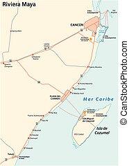 riviera maya road vector map