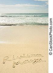 Riviera Maya Written in Sand on Beach