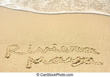 riviera, plage sable, maya, écrit