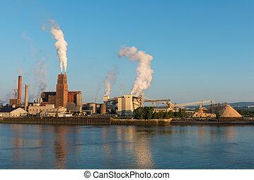 rivieroever, papier, fabriek