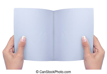 rivista, mano aperta, vuoto