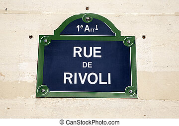 Rivoli Street Sign on Wall in Paris, France