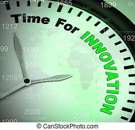 rivoluzionario, concetto, icona, mezzi, creazione, -, idee, illustrazione, tempo, usando, 3d, innovazione