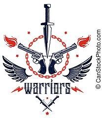 rivoluzione, concetto, tensione, caos, sociale, anarchia, emblema, theme., criminale, disegno, stile, vettore, lotti, elementi, tatuaggio, guerra, armi, altro, coltello, gangster, pugnale