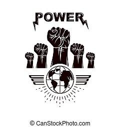 rivoluzione, diritti, combattimento, loro, aviatore, vettore, dimostrazione, idea., persone, congegni, sagoma, usando, pugni, terra, stretto, marketing, altoparlanti, creato, elevato, su, globe.