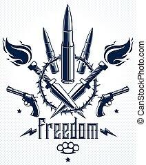 rivoluzione, elementi, gangster, guerra, disegno, logotipo, anarchia, stile, tatuaggio, differente, lotti, caos, criminale, pistole, tensione, emblema, theme., pallottole, concetto, vettore, sociale, o
