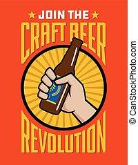 rivoluzione, mestiere, etichetta, birra, vettore, distintivo...