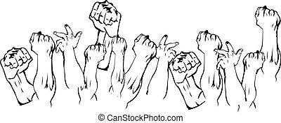 rivoluzione, su, mani