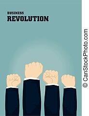 rivoluzione, vettore, illustrazione, elevato, pugni, concetto, affari