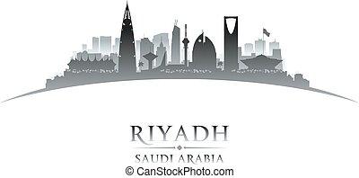 riyadh, arabia, háttér, láthatár, város, szaudi, árnykép, fehér