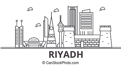 Riyadh architecture line skyline illustration. Linear vector cityscape with famous landmarks, city sights, design icons. Landscape wtih editable strokes
